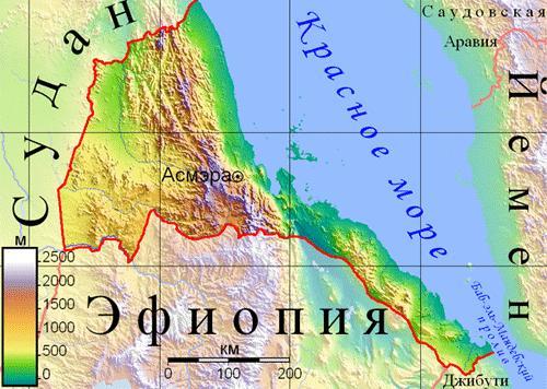 физическая карта Эритреи