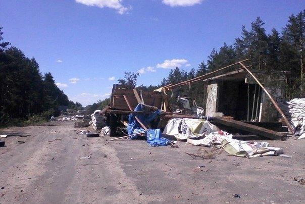 Разбитый блокпост сепаратистов под Ямполем