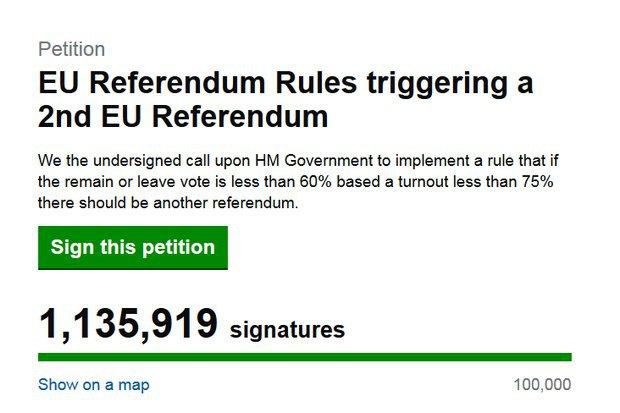 Неменее  500 тысяч  британцев выступили заповторное проведение референдума