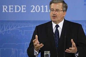 Коморовский укажет на препятствия евроинтеграции Украины