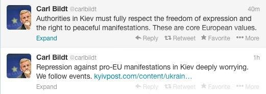 Реакция Карла Бильдта, министра иностранных дел Швеции