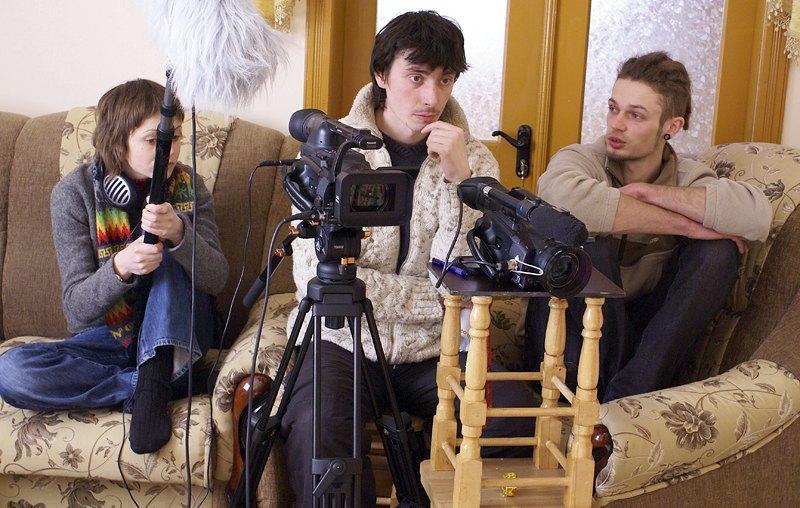 Дмитро Сухолиткий з колегами під час зйомок Маланки