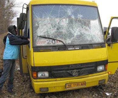 В Лубнах сгорел автобус титушек с днепропетровскими номерами