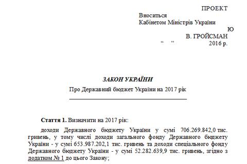Госбюджет-2017 обнародован на сайте Рады