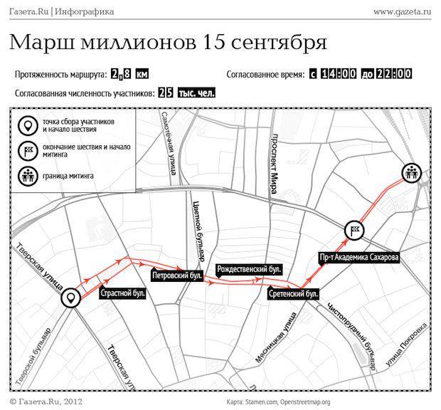Схема движения участников акции, согласованная с московскими властями