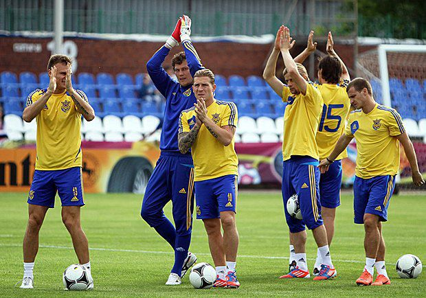 Сборная Украины во время тренировки