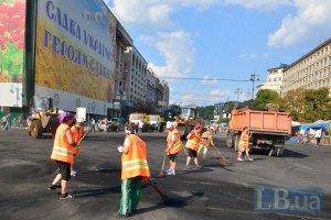 Субботник на Майдане продолжается, все очаги возгорания потушены