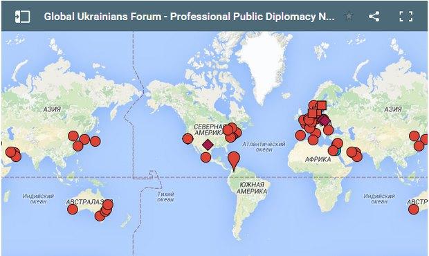 Мапа представлення українських волонтерських мереж в світі