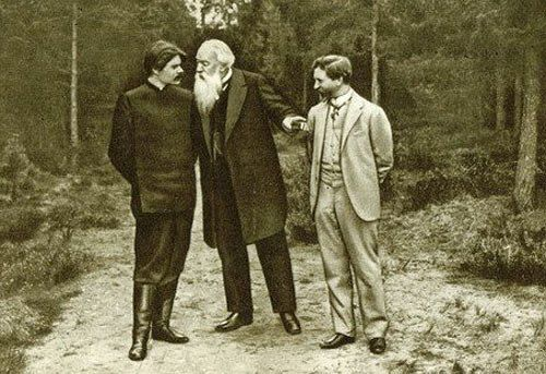 Владимир Стасов с Ильей Репиным и Максимом Горьким