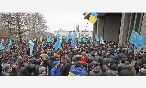 Митинг крымских татар у стен Верховной Рады 26 февраля