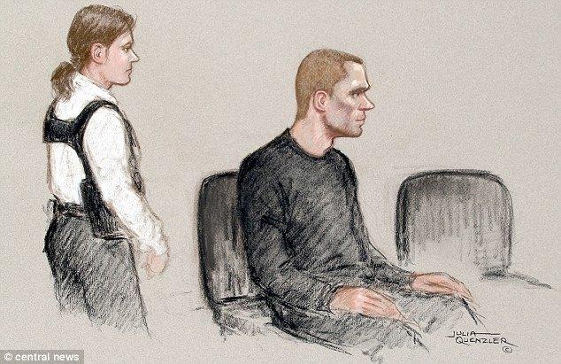 Павел Лапшин в суде. Автор рисунка: Джулия Куэнзлер