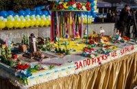 Жители Запорожья устроили грандиозную давку за бесплатным тортом
