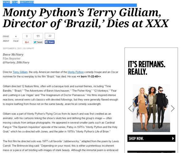 Видання Variety помилково повідомило про смерть Террі Гілліама
