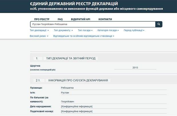 скріншот частини декларації Рябошапки з сайту Єдиного державного реєстру декларацій