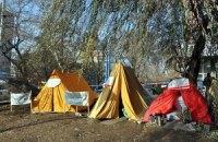 В Луганске чернобыльцы разбили палатки под окнами ОГА