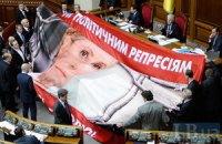 Бютовцы накрыли трибуну плакатом с Тимошенко