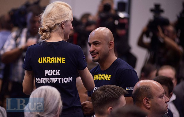 Мустафа Найем и активистка движения <<Чесно>> Светлана Залищук (18 место в списке) на съезде БПП