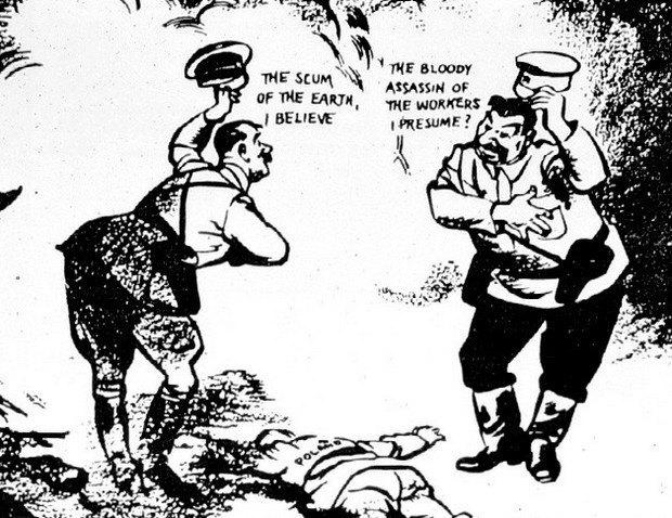 Сталин и Гитлер любезничают над лежащей Польшей