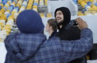 «Динамовцы» фотографировались на заснеженном «Олимпийском»