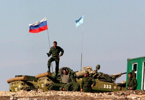 Блокпост российских военных в Грузии в 2009 г