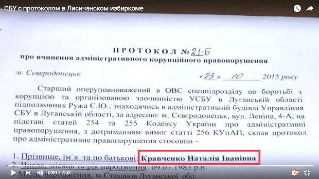 Скріншоти із відео, яке демонструє протокол про вчинення адміністративного корупційного правопорушення, що був вручений голові ТВК Наталі Кравченко. Відео доступне за посиланням https://www.youtube.com/watch?v=PXd7_I5Fjjc