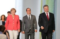 Порошенко обсудил выполнение Минских договоренностей с Меркель и Олландом