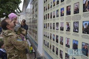В центре Киева открыли стену памяти погибших бойцов АТО