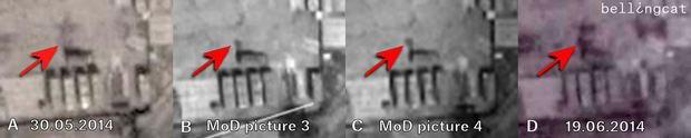 MoD picture 4 - анализируемый снимок, MoD picture 3 - снимок, с которым сравнивали свою подделку в Минобороны, остальные - снимки Google