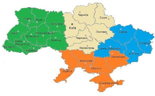 на карту Украины,