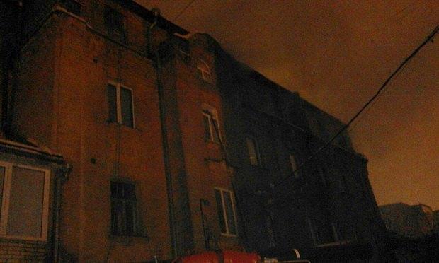 ВКиеве горел наполовину выселенный дом наСаксаганского