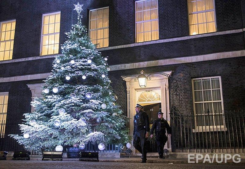 Елка в Лондоне, Великобритания, рядом с резиденцией премьер-министра