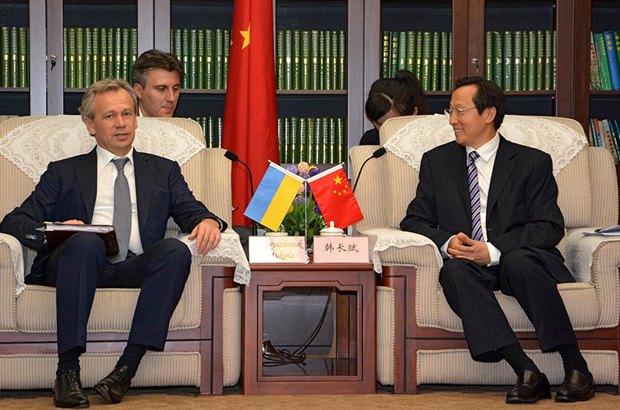 Министр аграрной политики и продовольствия Украины Николай Присяжнюк и министр сельского хозяйства КНР Хань Чанфу во время встречи в Пекине