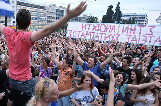 Мітинг безробітньої молоді проти політики уряду в Греціїї
