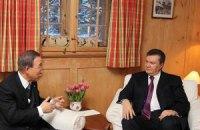 Янукович обсудил с генсекретарем ООН ситуацию в Украине