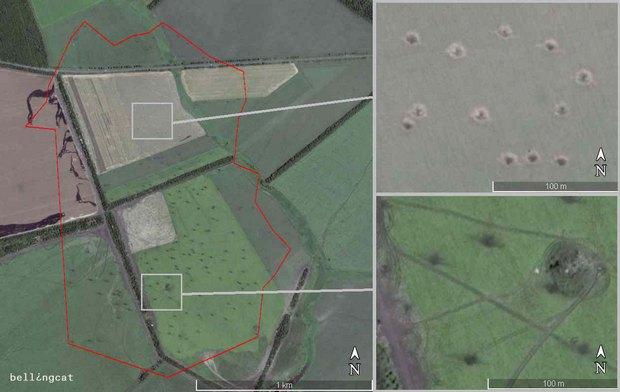 Область скопления воронок от артиллерийской атаки 14 июля 2014 г. вблизи Амвросиевки. Координаты: 47°46'1.07″ N 38°30'43.16″ E. Спутниковый снимок Google Earth от 16 июля 2014 г