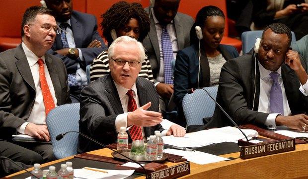 Виталий Чуркин, представитель России при Совбезе ООН во время заседания по крымскому вопросу