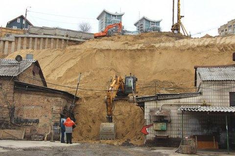 На одной из строек в центре Киева обрушилась песчаная порода