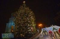 В Киеве зажглась новогодняя елка