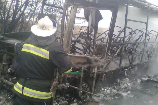 Под Харьковом сгорел рейсовый автобус