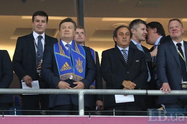 Президент Украины Виктор Янукович и президент УЕФА Мишель Платини