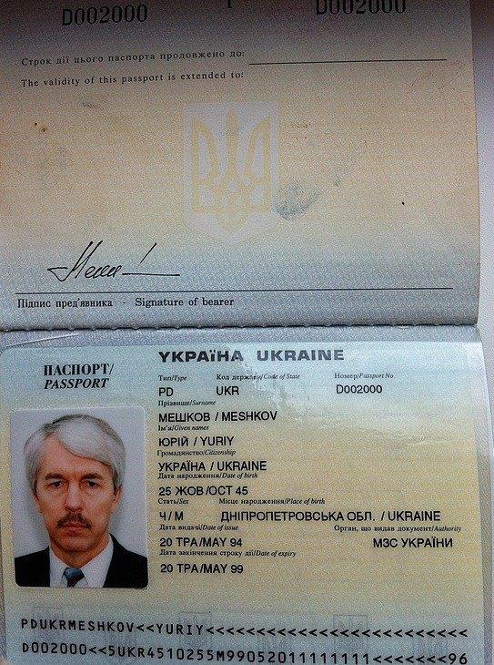 Диппаспорт Юрия Мешкова