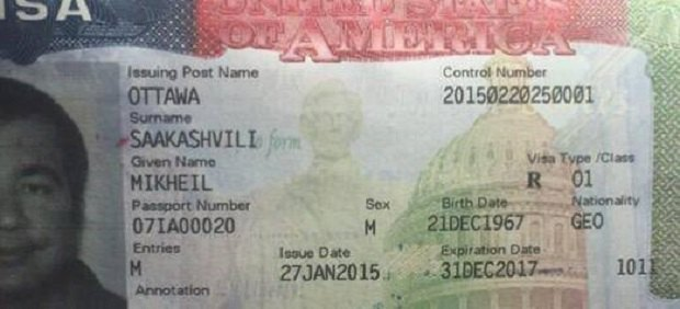 Страница загранпаспорта Саакашвили с визой в США
