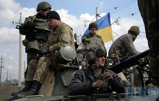 Бойцы 25-й воздушно-десантной бригады под Краматорском 17 апреля 2014 г