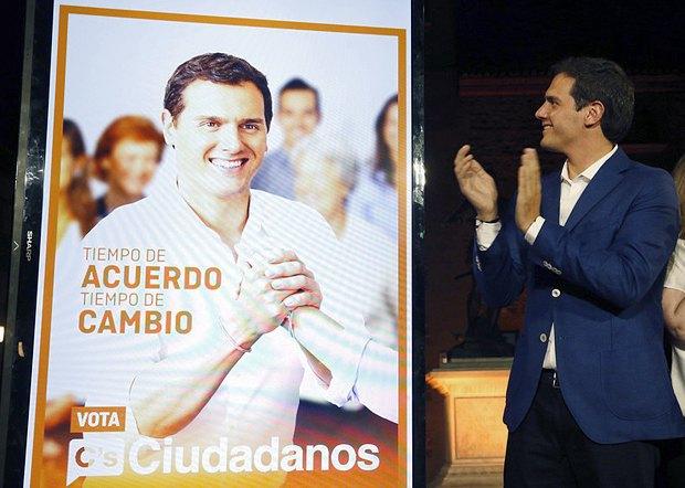 Представитель Ciudadanos, Альберт Ривера, во время выборов в Мадриде, Испания, 09 июня 2016 г.