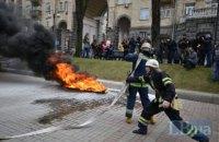 На акции киевских таксистов против Uber подожгли шины