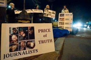 Украинцы в США встретили Клюева и Бондаренко пикетом