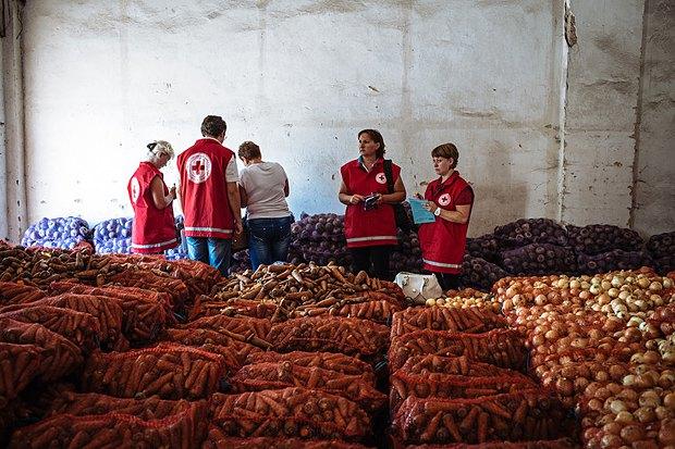 Красный крест распределяет гуманитарную помощь в Старобельске