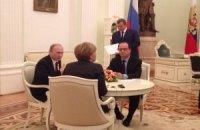 Путин, Меркель и Олланд продолжили переговоры после фотосъемки