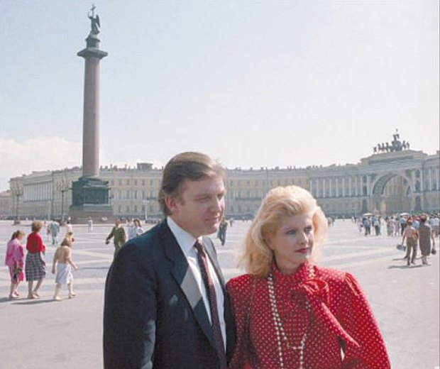 Donald Trump and his wife Ivana in Leningrad, July 1987