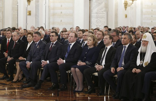From right to left: Patriarch Kirill, Russian State Duma Speaker Vyacheslav Volodin, Prime Minister Dmitriy Medvedev, Federation Council chairman Valentina Matviyenko, presidential administration head Anton Vayno waiting for the president's address to the Federal Assembly in the Kremlin, Moscow, December 1, 2016.
